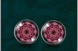 Kolczyki - Mandala różowy kwiat - powiew orientu - kolczyki wkrętki