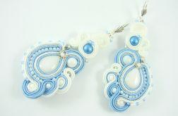 Kolczyki białe sutasz błękitne ślubne
