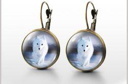 Kolczyki - Biały lis - bigle angielskie - antyczny brąz
