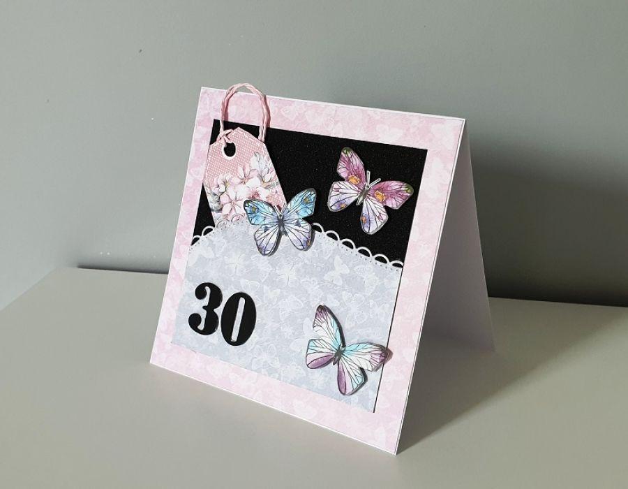 Kartka na urodziny motyle 30, 40 , 50...