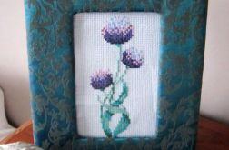 Ramka z haftem - kwiat