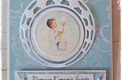 Kartka Komunijna dla chłopca-błękitna 2