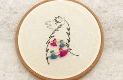 Lama - haftowany obraz, tamborek