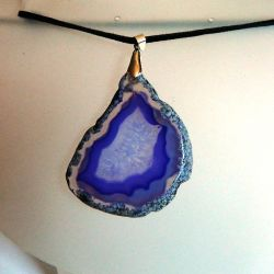Transparentny agat z kryształem, wisior