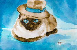 Malowany akwarelami Kot syjamski w kapeluszu