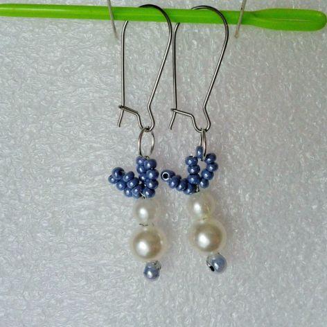 Kolczyki z koralików zajączki perłowe