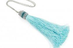 Długi naszyjnik z chwostem błękitny