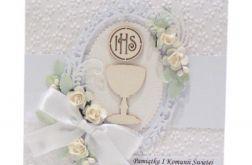 Pamiątka Komunii Św. biała z kielichem i różami