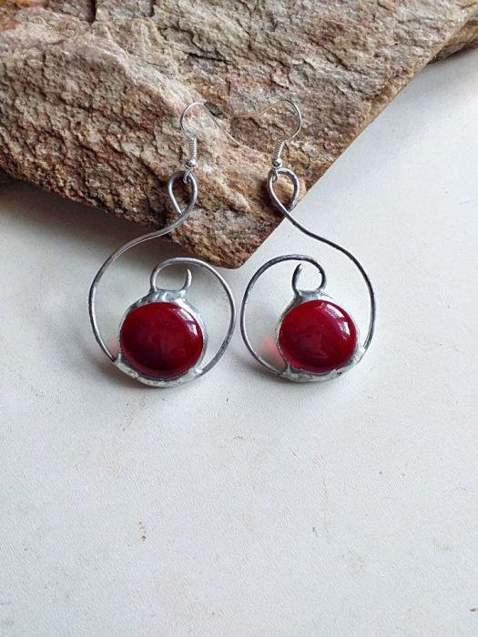 Kolczyki Zawijas Tiffany czerwony - kolczyki ciemny czerwony