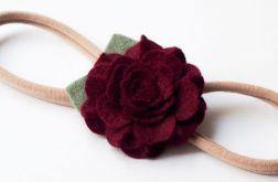 Opaska do włosów kwiatuszek burgund