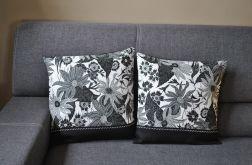 Dwie czarno-białe lniane poszewki