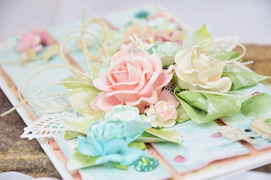 Kartka ślubna z kroplą turkusu