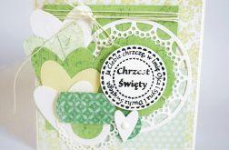 Kartka na Chrzest Święty w zieleni