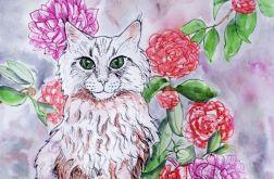 Kot w różanecznikach