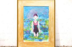 Rysunek z pływaczką, ładny szkic do pokoju