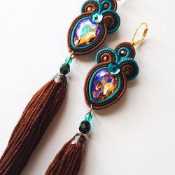 Brązowo-turkusowe kolczyki z chwostami
