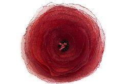 Broszka - przypinka kwiat mak 10 cm czerwony