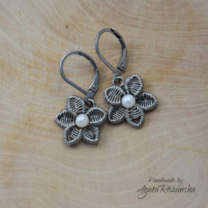 KWIATY kolczyki kwiatki, perły, wire wrapping