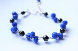 Kryształki niebieskie,hematyt-bransoletka