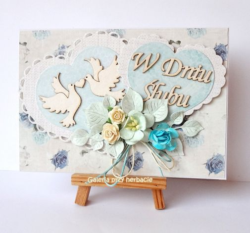 Kartka ślubna z serduszkami turkusowa