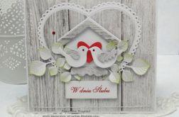Kartka ślubna z budką w tle - komplet