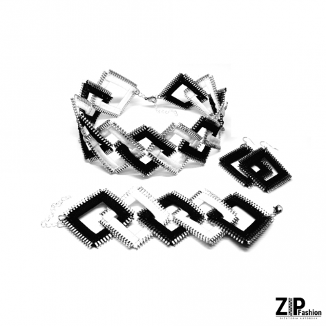 Bało-czarny komplet biżuterii kwadraty