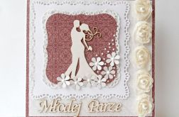 Kartka ślubna beżowo - bordowa