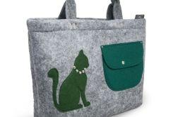 Torba, torebka na laptopa zielony kotek