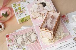 Pamiątka Chrztu dla dziewczynki-kartka box#1a