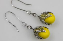 Żółte w siateczce - kolczyki
