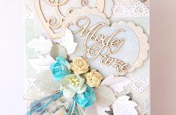 Kartka ślubna z różami turkusowymi