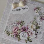 Kartka ślubna na ślub romantyczne kwiaty -