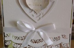 Kartka Ślubna serce drewniane