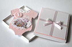 Kartka ręcznie robiona na roczek dziewczynki