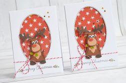 Kartka świąteczna z reniferem z czerwonym nosem
