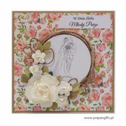 Kartka ślubna z wiankiem i różami - w kwiaty