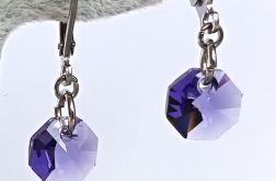 Fioletowe kryształki kolczyki
