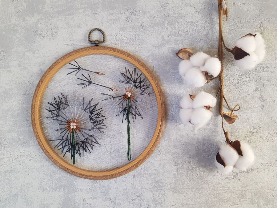 Komplet tamborków: turkusowe i szare dmuchawce - haft na tiulu