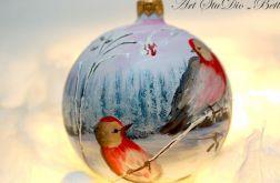 "Bombka szklana ""Zimowe ptaki"""