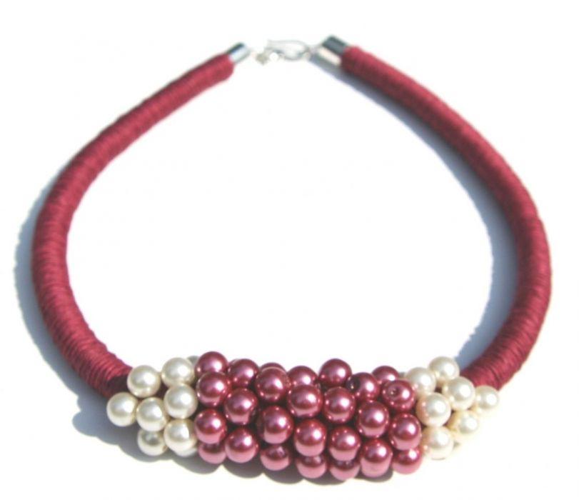 Naszyjnik z lnu i szklanych pereł Chiyo