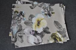 4 podkładki pod talerze duże kwiaty na lnie