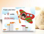Zaproszenie na urodziny dziecka ze zdjęciem na 2,3,4,5,6,7,8,9 itd Samolot