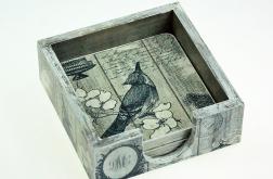 podkładki pod kubki- grey bird