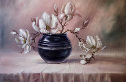 Magnolia, kwiaty, ręcznie malow obraz olejny