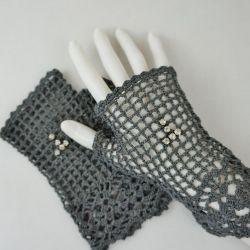 Romantyczne rękawiczki grafit