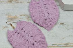 Duże kolczyki liście -pudrowy róż - makrama
