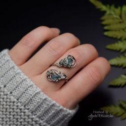 Regulowany podwójny pierścionek apatyt stal
