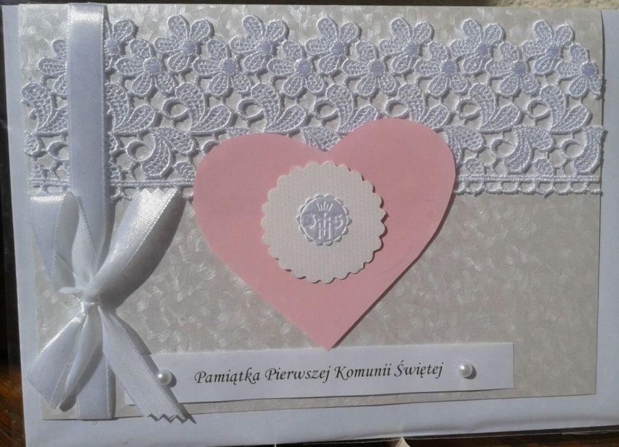 Kartka Pamiątka I Komunii Św. z sercem