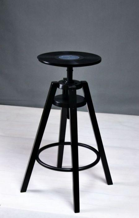 Hoker płyta winylowa winyl stołek barowy retr