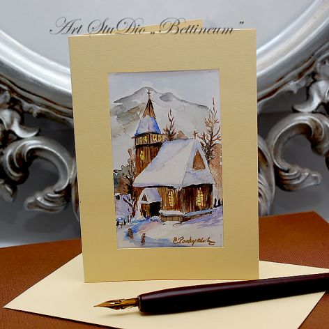Karnet malowany ręcznie -Akwarela Nr 1.-